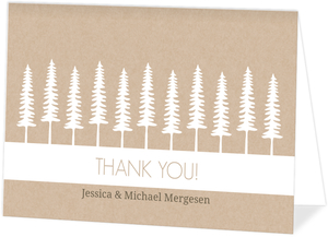 Rustic Pine Trees Wedding Thank You Card