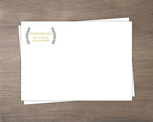 Gray Blue and Gold Frame Holiday Envelope