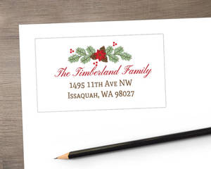 Simple Pine and Poinsettia Address Label