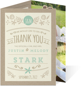 Rustic Mint and Kraft Wedding Thank You Card