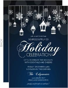 Snowflake Lantern Holiday Business Party Invitation