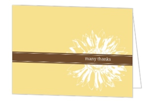 Simple Sunflower Brown And Yellow Thank You Card