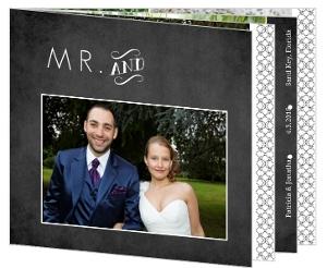 Vintage Chalkboard Photo Wedding Thank You