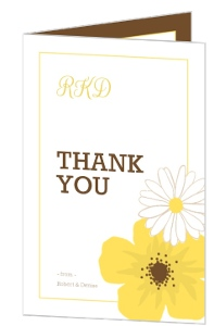 Simple And Classic Yellow Flower Wedding Thank You Card