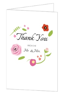 Bright Florals And Black Striped Thank You Card