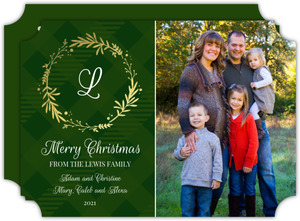 Gold Foil Monogram Wreath Christmas Photo Card