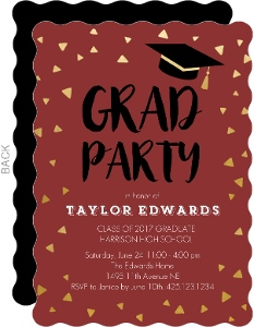 Maroon and Gold Graduation Party Invitation