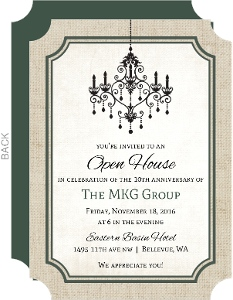 Burlap Chandelier Corporate Open House Invitation