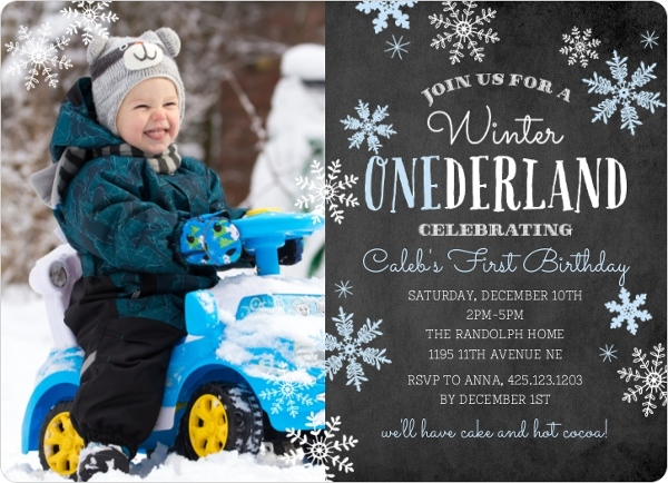 Blue Falling Snowflakes Winter Onederland Birthday Party Invitation