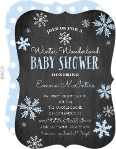 Blue Falling Snowflakes Winter Wonderland Baby Shower Invitation