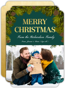 Gold Foil Merry Christmas Holiday Photo Card