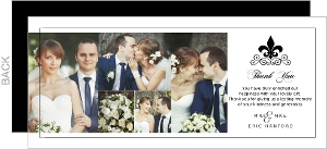 Black And White Fleur De Lis Wedding Thank You Card