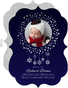 Hanging Snowflakes Silver Foil Birth Announcement
