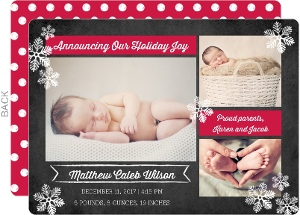 Holiday Joy Chalkboard Birth Announcement