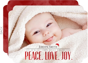 Red Foil Peace Love Joy Birth Announcement