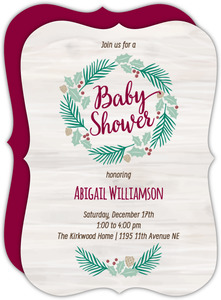 Holiday Wreath Baby Shower Invitation