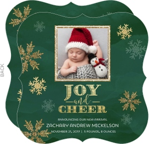 Joy and Cheer Christmas Birth Announcement