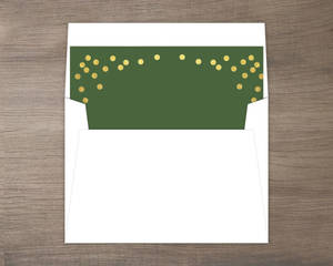 Green and Faux Gold Confetti Liner