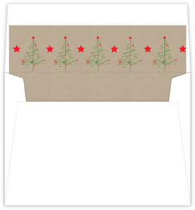 Simple Festive Tree and Stars Christmas Liner