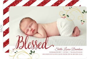 Blessed Faux Red Glitter Christmas Birth Announcement