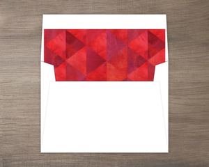 Red Holiday Geometric Watercolor Pattern Envelope