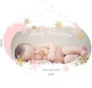 Pink and Gold Snowflake Ornament Birth Announcement
