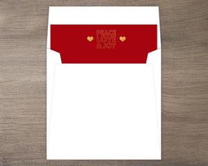 Faux Gold Peace Love Joy Envelope Liner