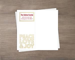 Peace Love Joy Faux Gold Cutout Envelope