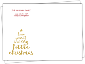 Gold Merry Little Christmas Tree Envelope