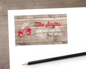 Red Gloves Holiday Address Label