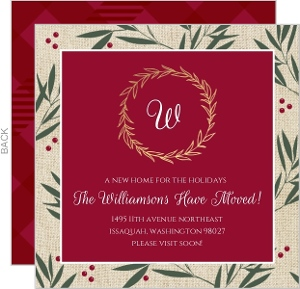 Berry Branches Gold Foil Monogram Moving Announcement