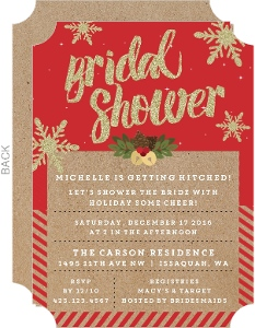 Glittery Snowflakes Bridal Shower Invitation