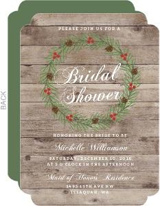 Rustic Woodgrain Wreath Bridal Shower Invitation