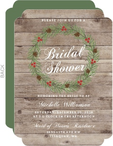 Rustic Woodgrain Wreath Bridal Shower Invitation