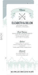 Whimsical Winter Mountains Wedding Menu Card