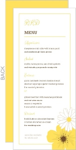Simple And Classic Yellow Flower Wedding Menu Card