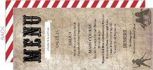 Rustic Red Stripe Pirate Wedding Menu Cards