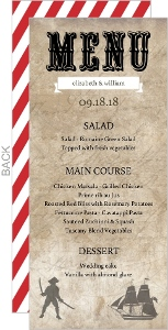 Rustic Red Stripe Pirate  Wedding Menu Cards