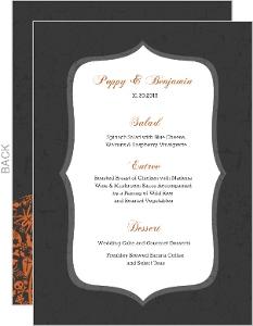 Regal Pumpkin Halloween Wedding Menu Card