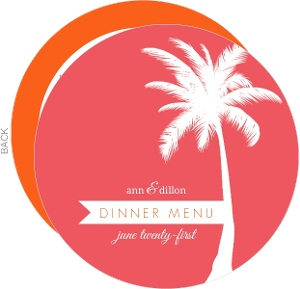 Pink And Orange Tropical Destiniation Menu Card