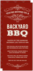 Cream and Red Vintage Backyard BBQ Invitation