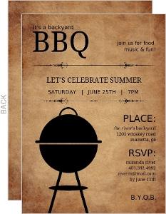 Rustic Backyard Bbq Invite