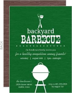 Green Backyard Woodgrain Bbq Invite