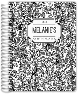 Black and White Floral Pattern Wedding Planner