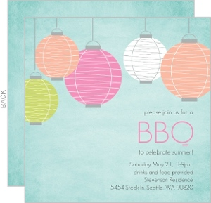 Chinese Lanterns Summer Bbq Invitation