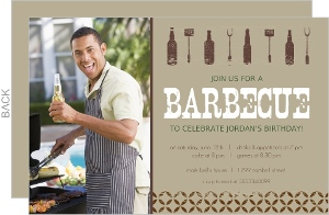 Brown Beer Bottle Barbecue Invite