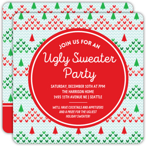 Knitted Christmas Tree Ugly Sweater Party Invitation