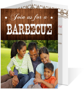Rustic Wood Family Bbq Invitation
