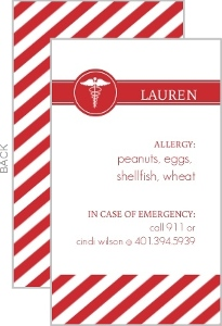 Red And White Medical Allergy Card