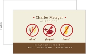 Modern Food Icons Allergy Card